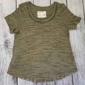 Pure + Good Anthro Heathered Olive Green Top